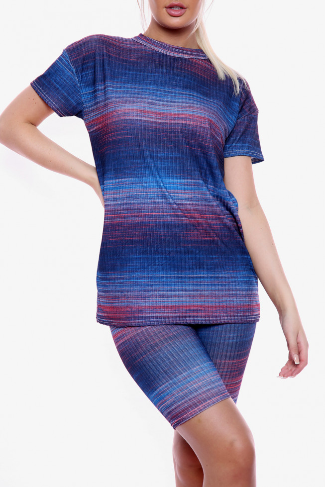 Multi Coloured Oversized T-Shirt and Cycling Short Co-ord Set