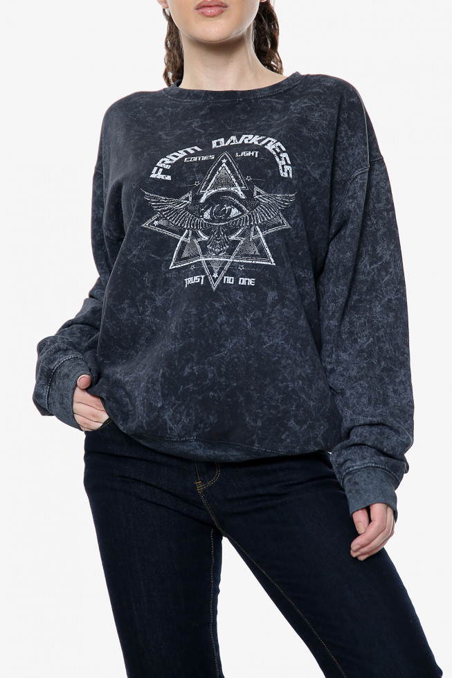 From Darkness Slogan Acid Wash Sweatshirt
