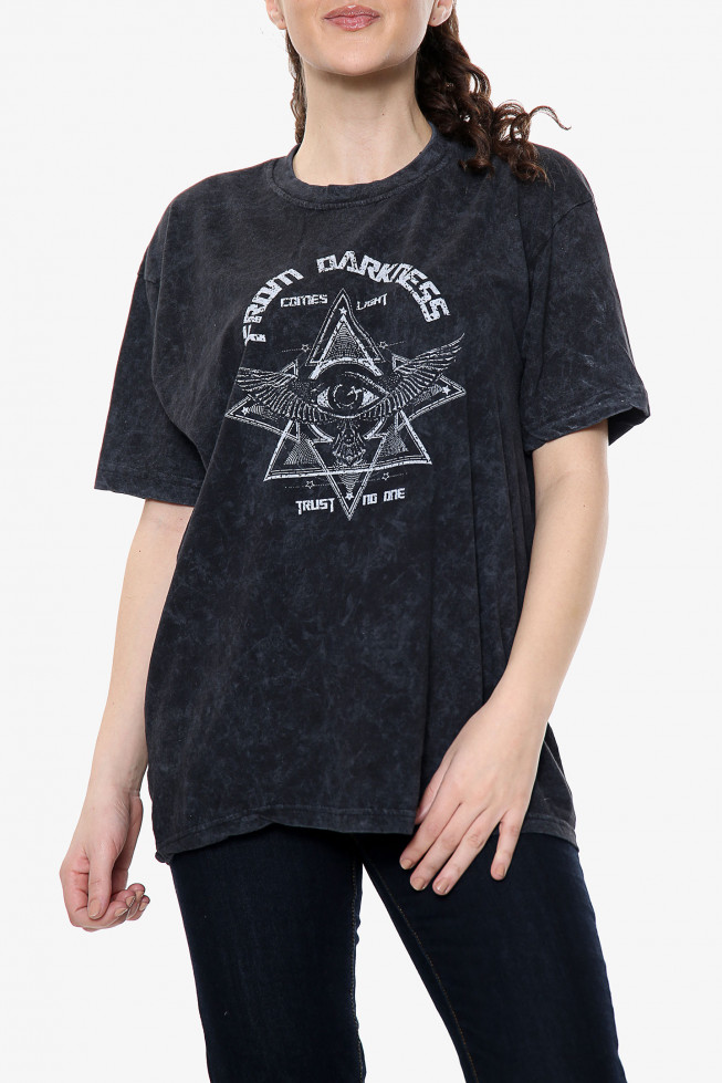 From Darkness Slogan Acid Wash T-Shirt