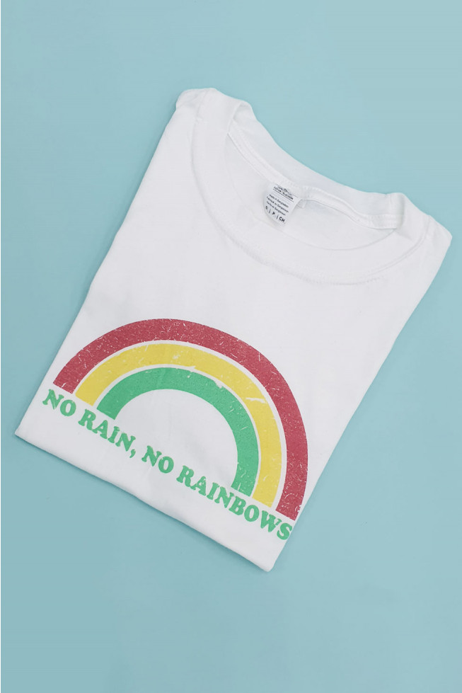 No Rain, No Rainbows Slogan Oversized T-shirt