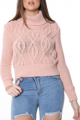 Roll Neck Cable Knitted Jumper