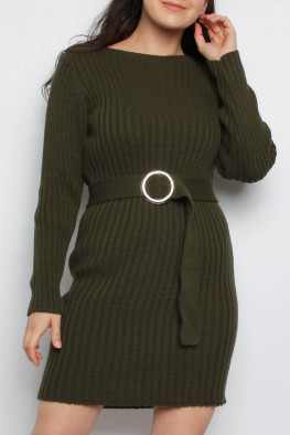 Belted Knitted Jumper Dress