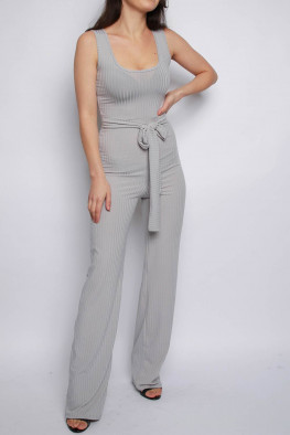 Ribbed Belted Wide Leg Jumpsuit