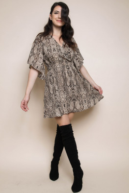 Snakeskin Wrap Skater Dress