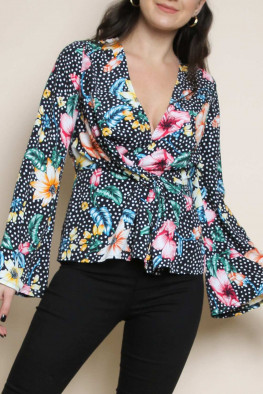 Polka Dot Floral Front Twist Top