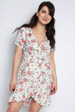 Ditsy Floral Wrap Frill Skater Dress