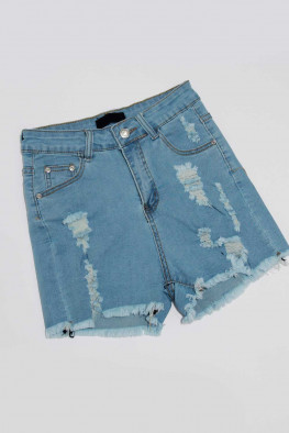 Denim High Waisted Distressed Shorts