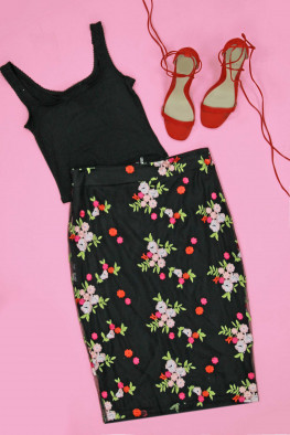 Embroidered Mesh Midi Skirt
