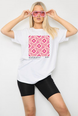 Pink Tile Graphic Oversized T-Shirt