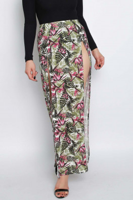 Tropical Print Split Maxi Skirt
