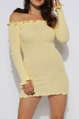 Ribbed Ruffle Bardot Dress