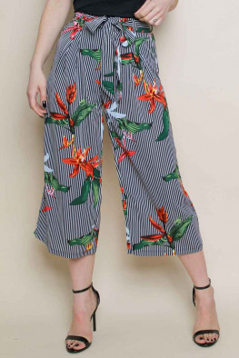 Stripe Tropical Print Culotte Trousers