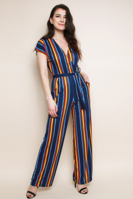 Stripe Wrap Wide Leg Jumpsuit