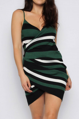 Stripe Cami Wrap Knitted Dress