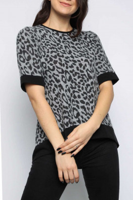 Dipped Hem Leopard Top
