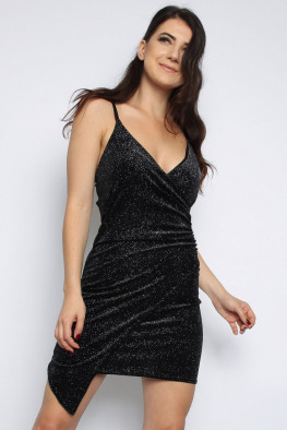 Glitter Velvet Asymmetric Dress