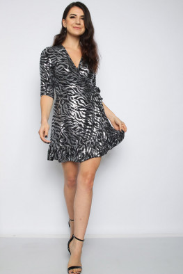 Metallic Zebra Skater Wrap Dress