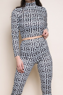 Geometric Print Top & Leggings Set
