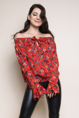 Chain Print Bardot Shirred Top
