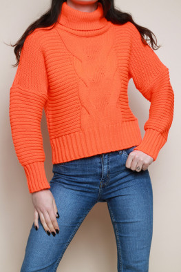 Roll Neck Rib Knitted Jumper