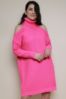 Cold Shoulder Knitted Jumper Dress
