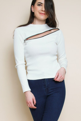 Front Zip Crop Ribbed Top