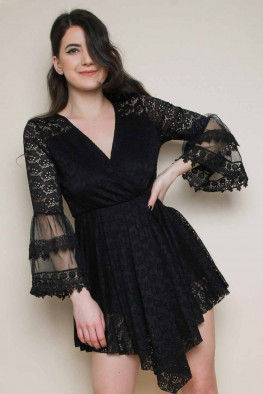 Crochet Wrap Playsuit with Flute Sleeves