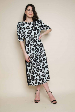 Leopard Side Stripe Midi Dress