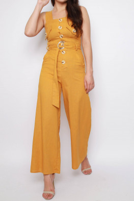 Linen Button Cami Wide Leg Jumpsuit