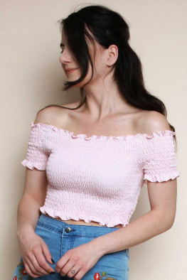 Shirred Bardot Off Shoulder Crop Top
