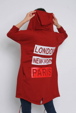 London Back Print Hoodie Cardigan