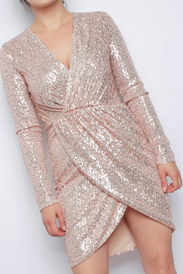 Wrap Long Sleeve Sequin Dress