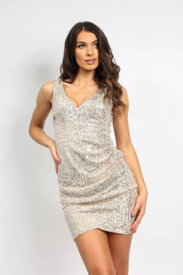 V-neck Sleeveless Sequin Dress