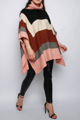 Roll Neck Stripe Knitted Poncho