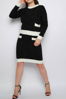 Contrast Knitted Jumper & Midi Skirt Co-ord Set