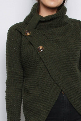Roll Neck Button Wrap Knitted Jumper