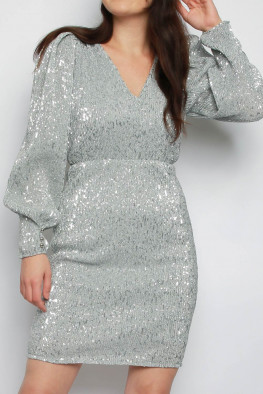 Pleated Sequin V-neck Bodycon Dress