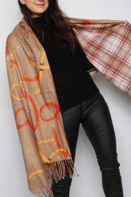 Chain Print Reversible Poncho Shawl