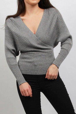 Batwing Wrap Metallic Knitted Jumper