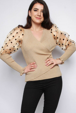 Polka Dot Organza Balloon Sleeve Wrap Knitted Jumper