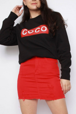 COCO Slogan Oversized Sweatshirt