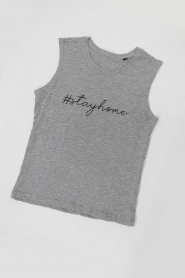 Stay Home Slogan Sleeveless Top