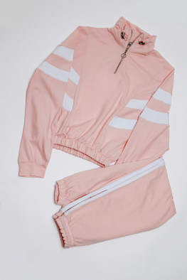 Zip Cropped Sweatshirt & Jogger Co-ord Lounge Set