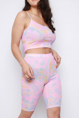 Tie Dye Cami Crop Top & Cycling Shorts Co-ord Set