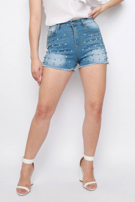 Denim Pearl Distressed High Waisted Shorts