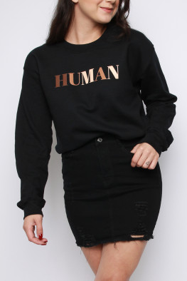 HUMAN Slogan Oversized Sweatshirt