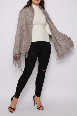 Ribbed Knitted Poncho Shawl