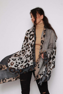 Leopard Print Knitted Poncho Shawl