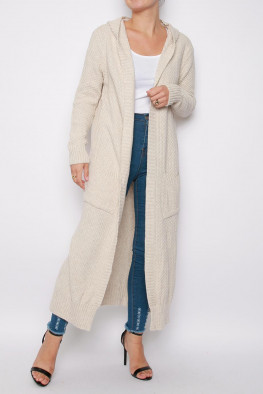 Maxi Hooded Knitted Cardigan