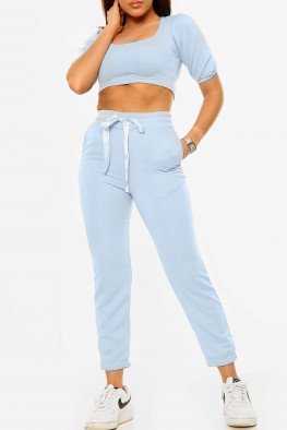 Puff Sleeve Cropped Top and Joggers Lounge Set